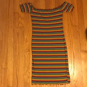 Rainbow striped tight dress